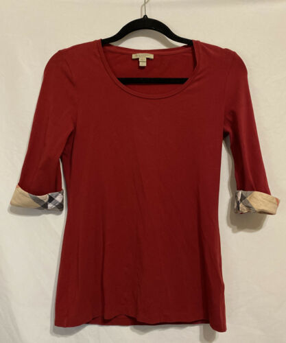 Burberry Brit Red Blouse Signature Plaid Sleeves W