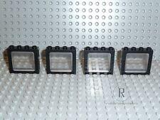 LEGO® 4 schwarze Eisenbahnfenster Fenster Window 1x4x3 4033 4034