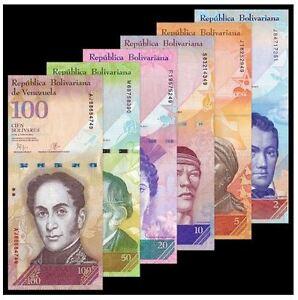 Venezuela-Banknote-Set-6pcs-UNC-2-100-Bolivar-6-2-100