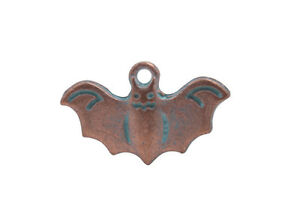 10PCS Patina Copper Metal Halloween Bat Charms