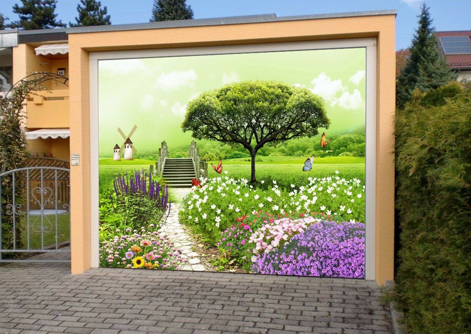 3D Butterflys Flowers 4 Garage Door Murals Wall Print Wall AJ WALLPAPER UK Lemon