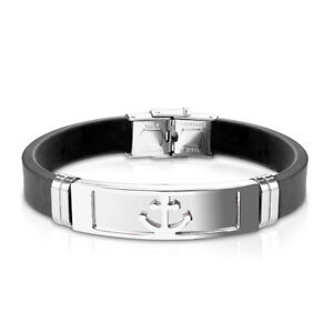 silberner Anker - Armband Anker schwarz Silikon Herren Männer Unisex Sailor Sea
