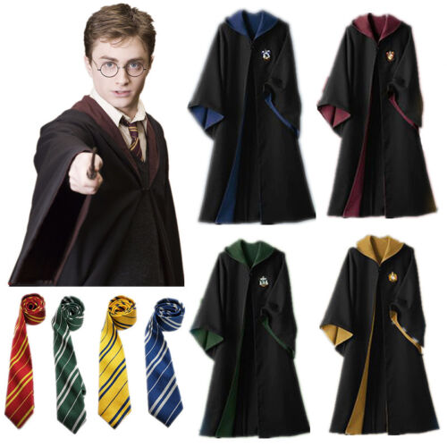 Harry Potter Cosplay Gryffindor Slytherin Hufflepuff Ravenclaw Robe Cloak W//Tie