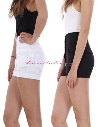 WOMENS GIRLS HOTPANTS DESIGNER MISS SEXIES HIGH WAISTED STRETCH HOTPANT SHORTS.