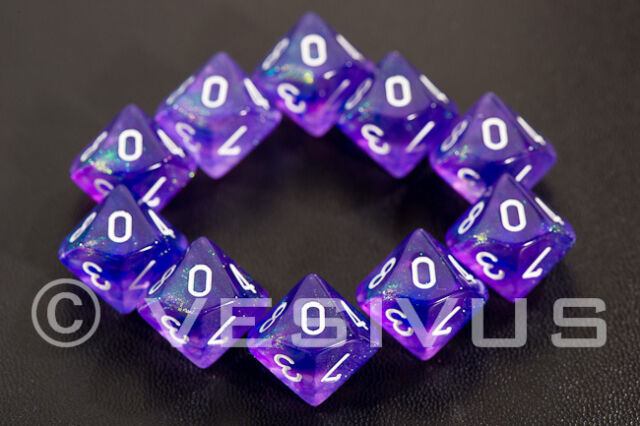 DICE Chessex FESTIVE CAROUSEL PURPLE//PINK RPG Set 10d10 d10 Swirl Marble 27240