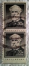 1955 Scott 1049 Robert E. Lee two used and cancelled 30 cent stamps off paper
