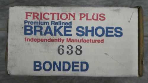 BRAND NEW FRICTION PLUS REAR RELINED BRAKE SHOES 638 FITS VEHICLES ON CHART