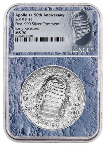 2019 Apollo 11 50th Commem Silver Dollar NGC MS70 ER Moon Core SKU56531