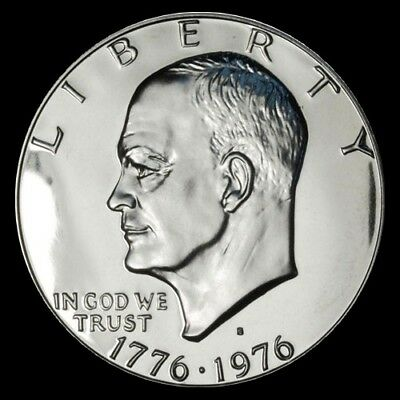 """1976 S EISENHOWER DOLLAR CAMEO PROOF 40/% SILVER """"IMPERFECT DISCOUNTED"""" IKE"""