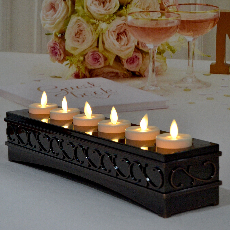 Luminara Rechargeable Flameless Tea Lights Candles Ivoy Set of 6