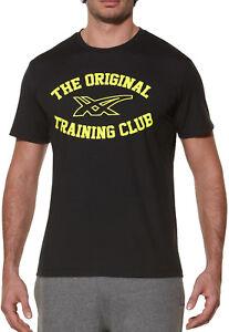 PréVenant Asics Poncé Graphique à Manches Courtes Pour Homme Training Running Gym Top-noir-afficher Le Titre D'origine Petit Profit