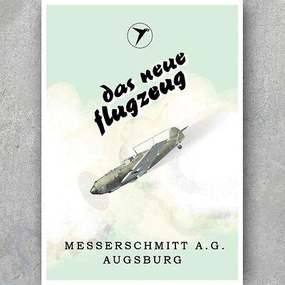 HQ Art Print MESSERSCHMITT BF109 AUGSBURG WW2 Luftwaffe A3 A6 Vintage POSTER