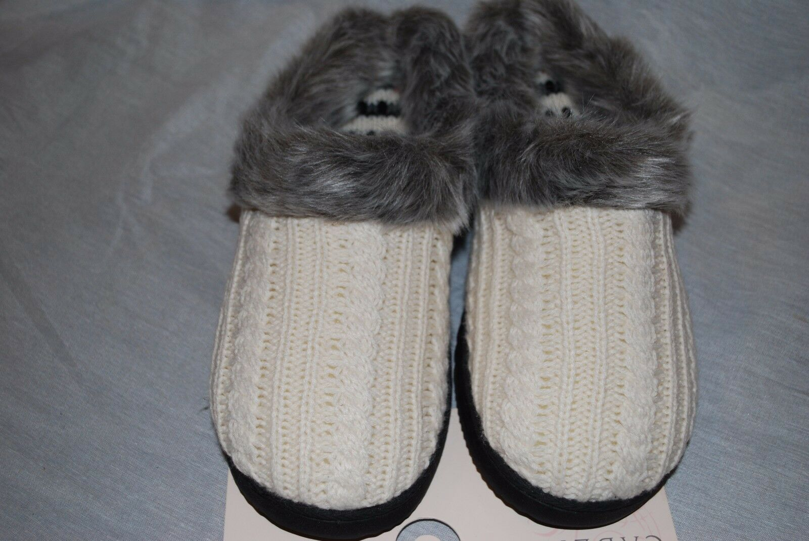 NEW WOMEN'S CABERNET IVORY SWEATER KNIT BUTTON SLIPPERS FAUX FUR SIZE 11/12 XL