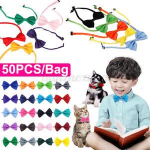 🔥 50x/Set Dog Car Puppy Pet Bow Tie Bowtie Necktie Neck Makeup Collar