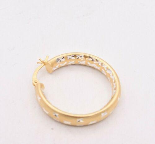 """1.25/"""" 30 mm x 6 mm Diamant Coupe Ronde Boucles d/'oreilles Créoles 14K or jaune plaqué 925"""
