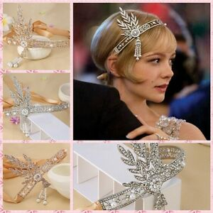 Image is loading Bridal-Great-Gatsby-1920s-Vintage-Headpiece-Pearls-Wedding- d8d141746cf