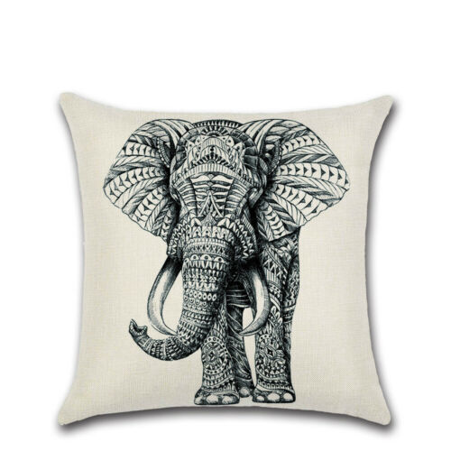 "18/"" Elephant Print Cotton Linen Cushion Cover Pillow Case Sofa Home Decor"