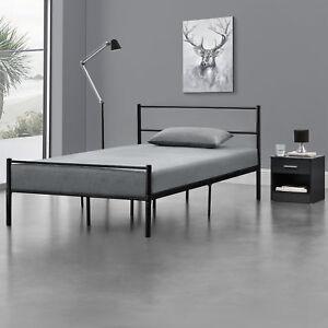 en.casa Metallbett 160x200cm Schwarz Bettgestell Design Bett Schlafzimmer Metall