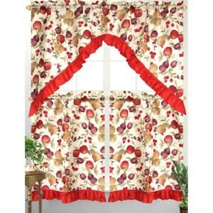 Brilliant Details About 3Pc Diana Kitchen Curtain Tier Swag Red Ruffle Border Mixed Fruit Apple Print Download Free Architecture Designs Scobabritishbridgeorg