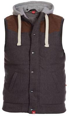 Modesto D555 Quilted Fleece Gilet Con Cappuccio E Pelle Scamosciata Spalla, Taglia 1xl-6xl,2 Colori-