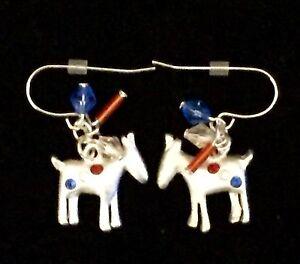 Silver-Democrat-Donkey-Progressive-Fashion-Jewelry-Earrings-Dangle-Crystals-USA