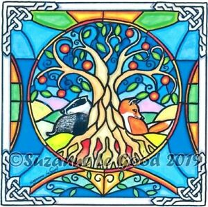 Fox-Badger-Tree-of-Life-art-print-signed-from-original-painting-Suzanne-Le-Good