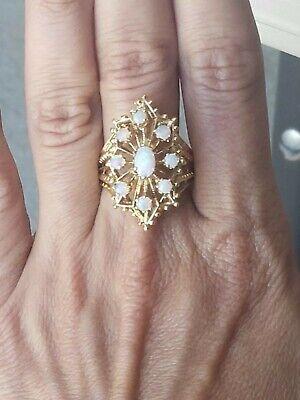14k 585 yellow gold flower motif opal ring 8.0 grams size 6.5
