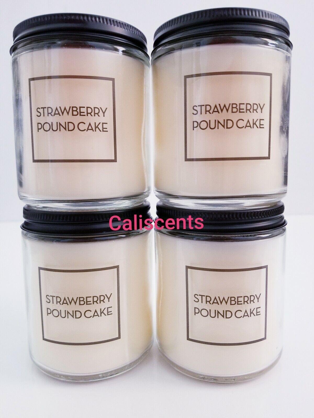 Bath & Body Works STRAWBERRY POUNDCAKE 7 oz Candles  Burns 20-30 Hrs X4  Ltd Etd