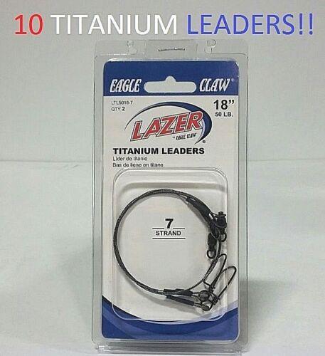 "LTL5018-7 Platinum Black Titanium Leaders EB050205 10 Lazer Sharp 18/""//50lb"