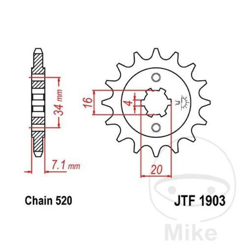JT Front Sprocket 14T 520 Pitch JTF1903.14 KTM Duke 125 ABS 2013-2018