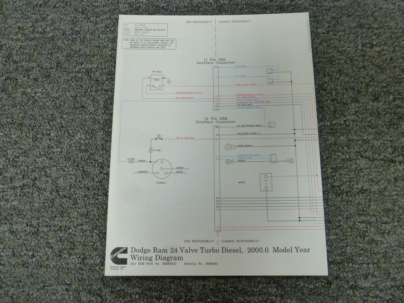2000 Dodge Ram 2500 5.9L Cummins Turbo Diesel Electrical Wiring Diagram  Manual | eBayeBay