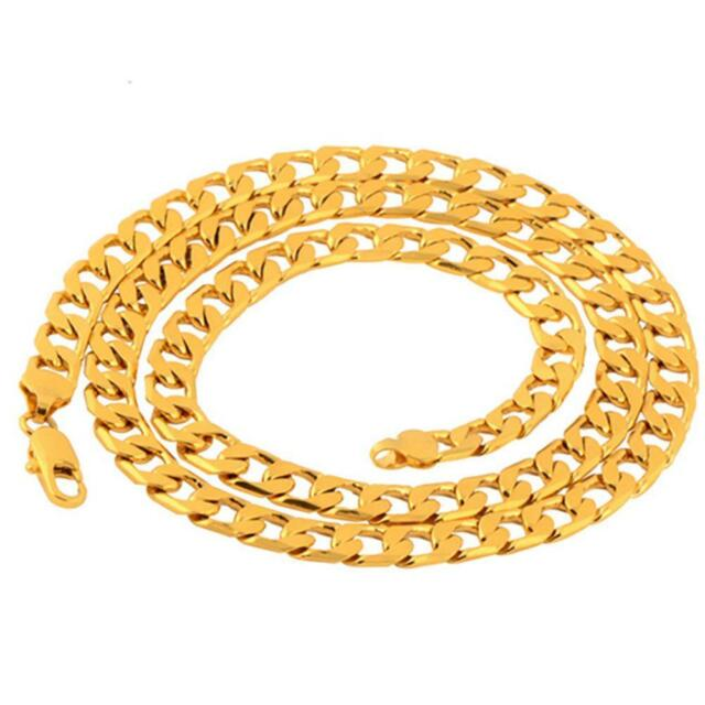 """Men's Stainless Steel 18K Gold Filled Curb Cuban Chain Necklace Jewelry 24""""  #k"""
