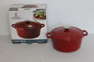 Grand-Gourmet-Red-Cast-Iron-Covered-Casserole-5-Qt-Dutch-Oven-Pot-with-Lid-EUC