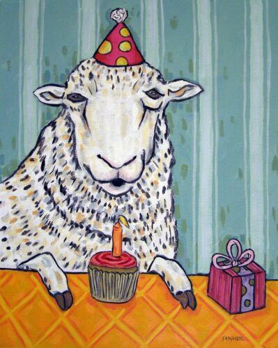 Sheep Birthday ram picture animal art  4x6   GLOSSY PRINT