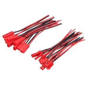 10 par de 2 patillas JST-stecksockel, conector M a F, 110 mm de cable, alambres, rojo l1y