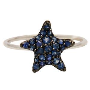 14K-WHITE-GOLD-PAVE-BLUE-SAPPHIRE-STARFISH-STAR-ANIMAL-COCKTAIL-FASHION-RING