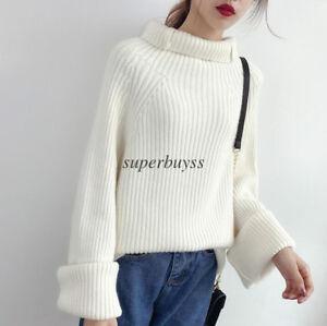 Pullover-Oversized-Coat-Casual-Tops-Blouse-Korean-Women-Knit-Turtleneck-Sweater