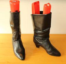 Vintage Black Leather ELASTOMERE Pull On Mid Calf Heel Riding Boots 9 / 42 Italy