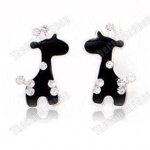 U CLIP ON studs BLACK BABY GIRAFFE EARRINGS rhinestone CRYSTAL silver plate stud