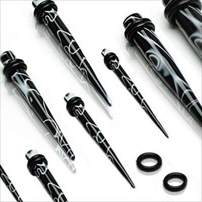 Single Marble Black White Black Ear Taper Plug Stretcher Expander Gauges 1 Piece
