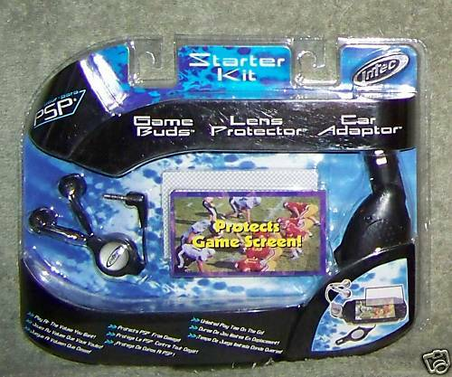 PSP STARTER KIT GAME BUDS, LENS PROTECTOR & CAR ADAPTOR INTEC