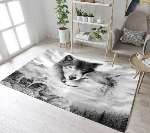 Floor Rug Mat Wild Animals Wolf Scenic Kids Bedroom Carpet Living Room Area Rugs