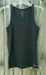 Calvin-Klein-Womens-Sz-S-Black-Solid-Stretch-Tank-Top-Shirt-Scoop-Neck-Athletic