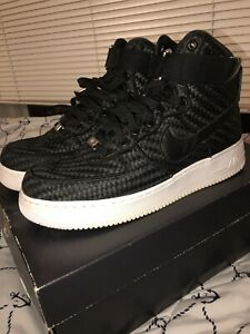 best sneakers 69953 39256 Image is loading Nike-Air-Force-1-high-woven-black-Men-