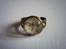LIBELLE DRAGONFLY TIER bronzefarbener Glas Cabochon Fingerring verstellbar FR011