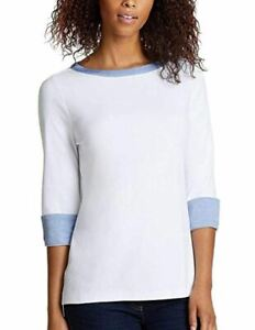 Nautica-Ladies-039-Cuff-Sleeve-Top-Shirt-Bright-White-Size-Medium-9123CK