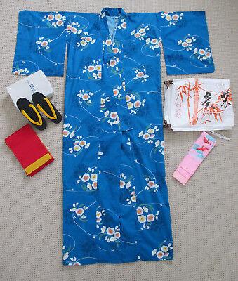 KYOTO YUKATA Kimono SET Cotton Japanese Sashes, Geta Paulownia 桐 Sandals Clogs