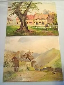 2-x-Vintage-Oil-on-Board-Oil-Paintings-By-W-Whitaker-1953-Country-Scenes