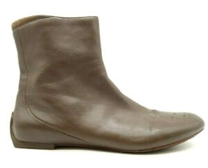 Tsubo Brown Leather Casual Zip Up Driving Ankle Boots Shoes Women's 8.5