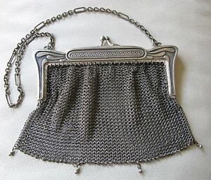 Clothing, Shoes & Accessories Antique Art Deco Greek Key Style Frame German Silver 4 Ball Tassel Mesh Purse Art Deco